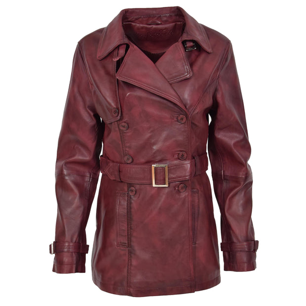 Womens Soft Leather Trench Coat Olivia Burgundy