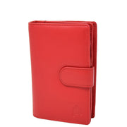 Womens Soft Real Leather Purse Trifold Booklet Clutch AL22 Red
