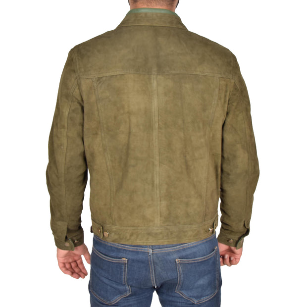 Mens Real Soft Goat Suede Trucker Denim Style Jacket Chuck Green Back
