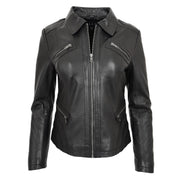 Ladies Soft Leather Jacket Fitted Collared Zip Fasten Biker Style Leah Black