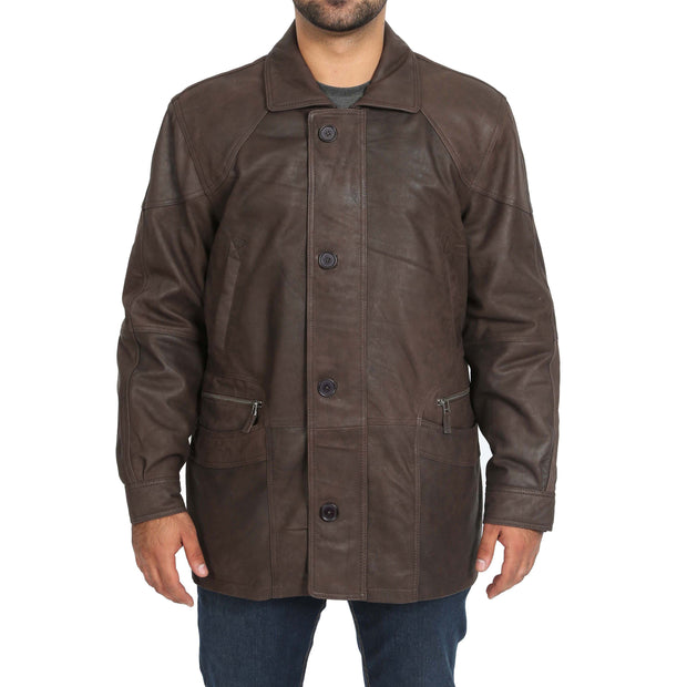 Gents Classic Soft Leather Parka Overcoat Clive Brown