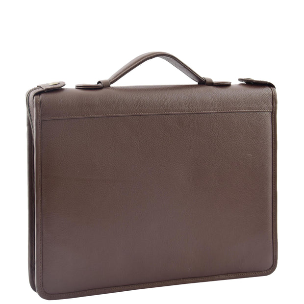 Brown Leather A4 Ring Binder File Folio Office Bag Zip Organiser Braga