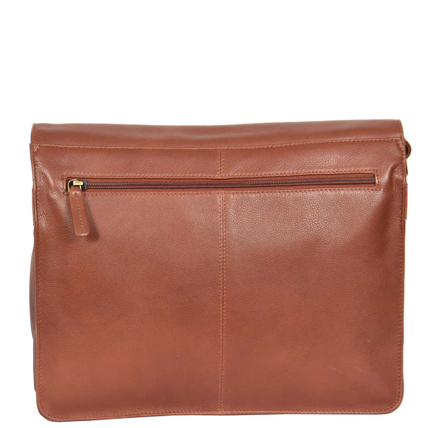 Womens BROWN Leather Messenger Cross body Shoulder Bag A53 Back