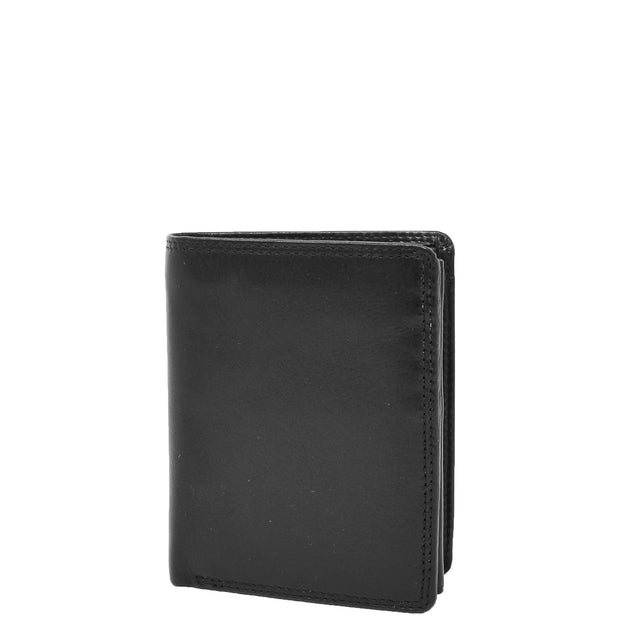 Mens Soft Durable Leather Wallet Cards Coins Notes ID Holder AV111 Black Front