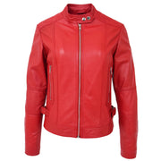 Womens Soft Red Leather Biker Jacket Designer Stylish Fitted Quilted Celeste Front