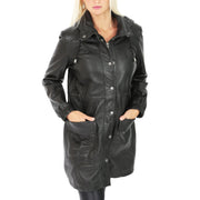 Ladies Duffle Leather Coat 3/4 Long Detachable Hood Classic Parka Jacket Liza Black Front 1
