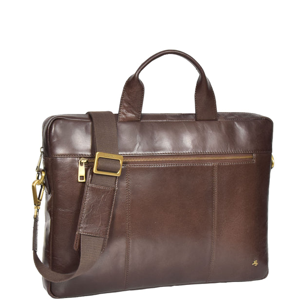 Laptop Briefcase Real Leather Business Bag Messenger Satchel Brown Nice