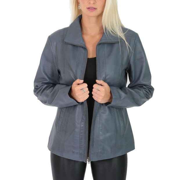 Womens Classic Fitted Biker Real Leather Jacket Nicole Blue Open