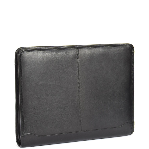 Zip Around Folio Leather Folder A4 Binder Organiser Underarm Bag A1 Black Front Angle