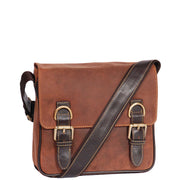 Real Leather Messenger Cross Body Organiser Office Bag Beck Tan