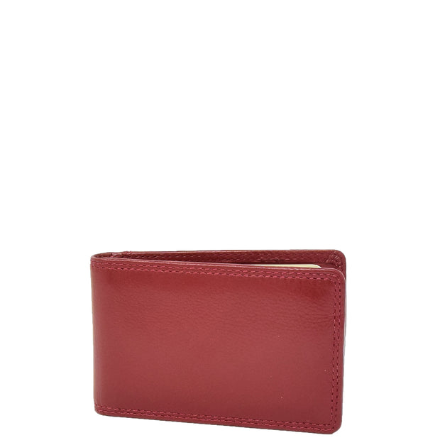 Real Leather Credit Card Holder Oyster Bus Pass ID Bifold Slim Wallet AV5 Red