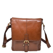 Mens Real Leather Cross body Messenger Bag A224 Chestnut Front
