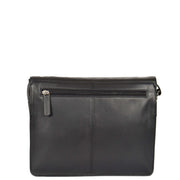 Womens BLACK Leather Shoulder Bag Classic Casual Cross Body Satchel A54 Back