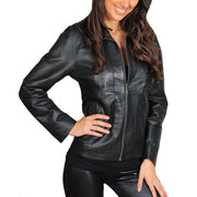 Womens Classic Fitted Biker Real Leather Jacket Nicole Black