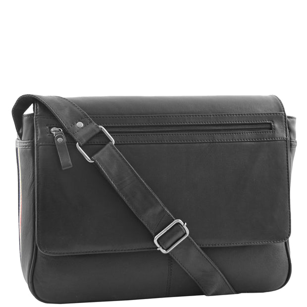 Mens Messenger Bag Real Leather Flight Shoulder Organiser Carl Black