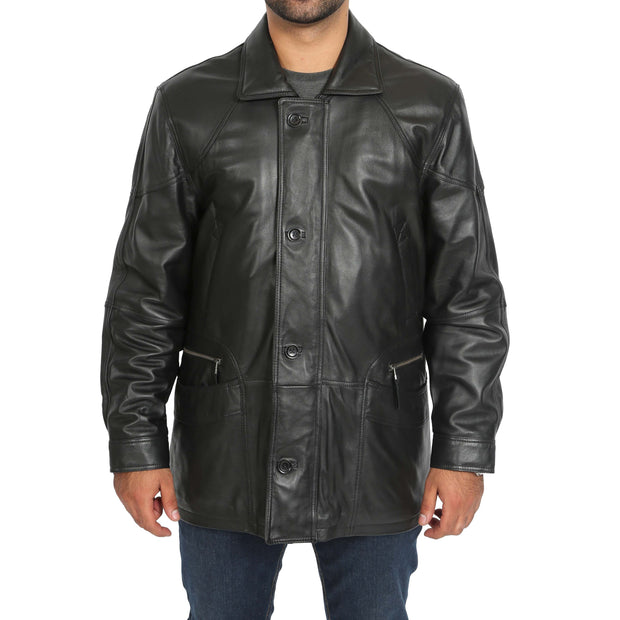 Gents Classic Soft Leather Parka Overcoat Clive Black main view