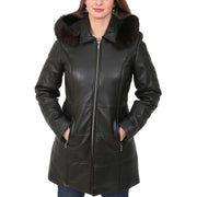 Womens Quilted 3/4 Long Parka Leather Coat with Hood Kelly Black