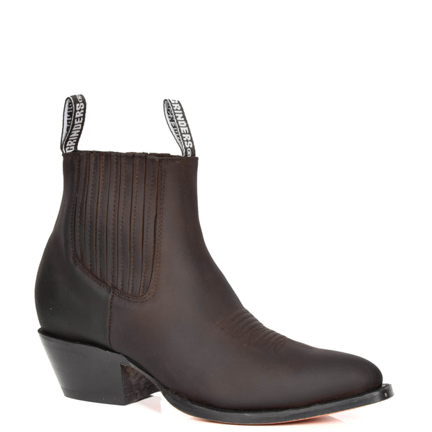 Real Leather Pointed Toe Chelsea Ankle Boots AMA79 Brown