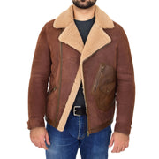 Mens Real Sheepskin Jacket Antique Flying Shearling B3 Coat Rocky Brown Open 2