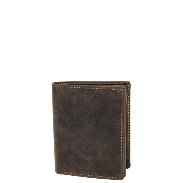 Mens Distressed Leather Wallet Coins Credit Cards Note Case A108 Brown Front