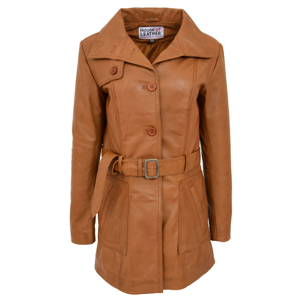 Womens Real Leather Mid Length Trench Parka Coat Alba Tan