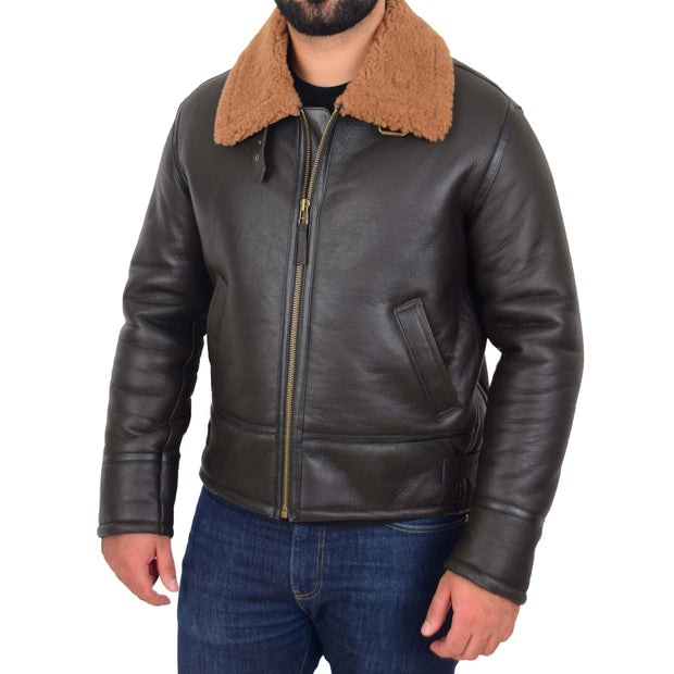 Mens Original Sheepskin Flying Jacket B3 Bomber Aviator Pilots Shearling Coat Raptor Brown/Ginger