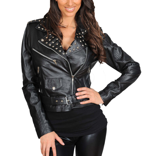Ladies Studded Cropped Fitted Biker Leather Jacket Diane Black
