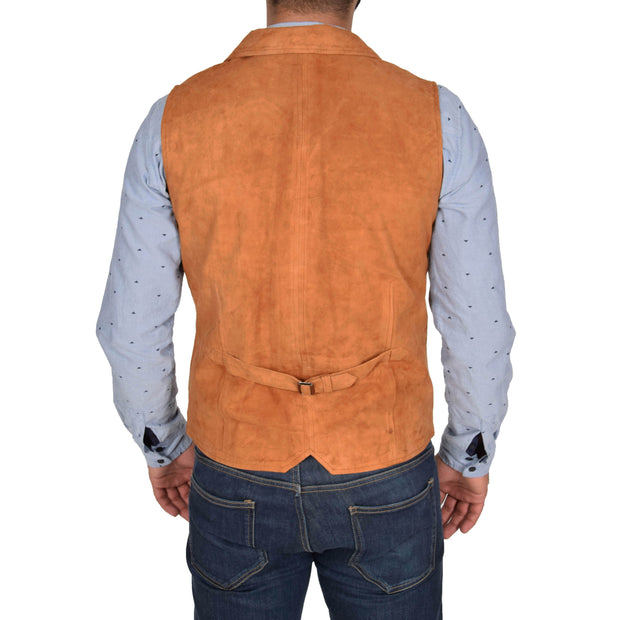 Mens Real Suede Leather Waistcoat Classic Vest Yelek Status Tan Back