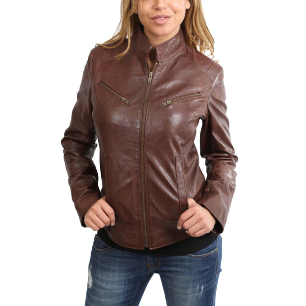Womens Fitted Leather Biker Jacket Casual Zip Up Coat Jenny Brown