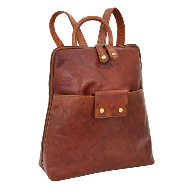 Womens Backpack Cognac LEATHER Rucksack Travel Organiser Evie Front Angle