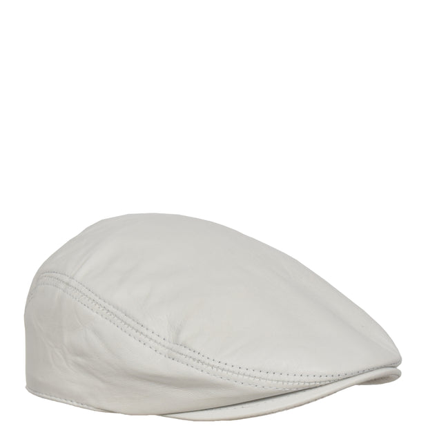 Genuine White Leather Flat Cap English Granddad Baker-boy Hat Arthur
