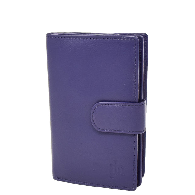 Womens Soft Real Leather Purse Trifold Booklet Clutch AL22 Purple
