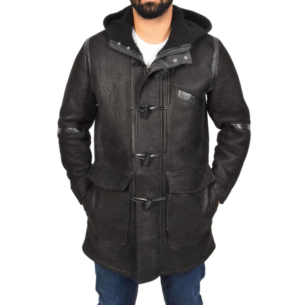 Mens Genuine Sheepskin Duffle Coat 3/4 Long Hooded Jacket Ace Black