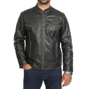 Mens Biker Style Leather Jacket Vintage Rub Off Effect Matt Brown main view