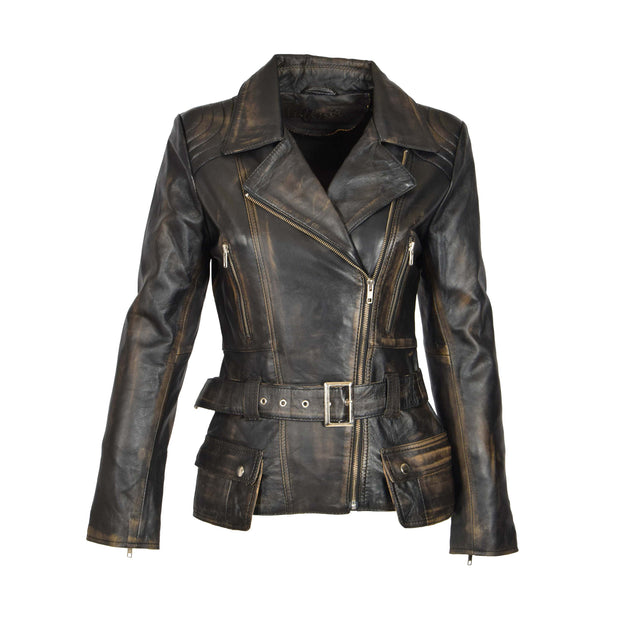 Womens Biker Leather Jacket Slim Fit Cut Hip Length Coat Coco Rub Off