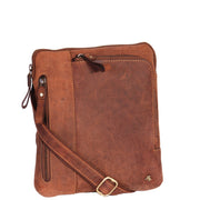 Real Leather Cross Body Vintage Distressed Look Messenger Flight Bag A650 Tan