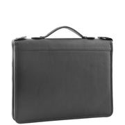 Black Leather A4 Ring Binder File Folio Office Bag Zip Organiser Braga