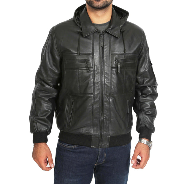 Mens Hooded Bomber Leather Jacket Seth Black zip fasten view