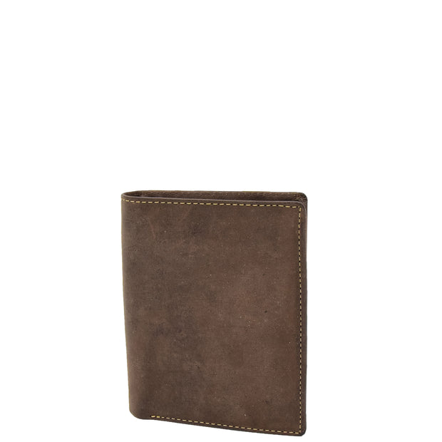 Mens Distressed Leather Wallet ID Coins Cards Notes Holder AV09 Brown Front