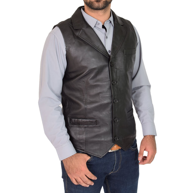 Mens Genuine Soft Leather Waistcoat Western Vest Yelek Rhys Black Front 1