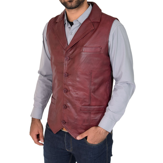 Mens Genuine Soft Leather Waistcoat Western Vest Yelek Rhys Burgundy Front 1