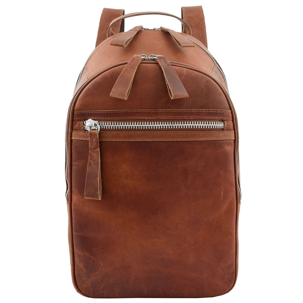 High Quality Genuine Tan Leather Backpack Large Size Work Casual Travel Bag Trek Front