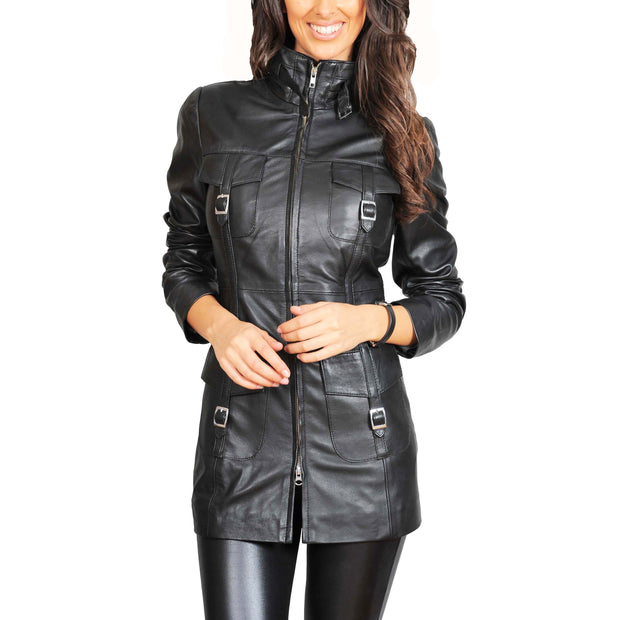 Womens 3/4 Long Zip Fasten Leather Jacket Carol Black main view