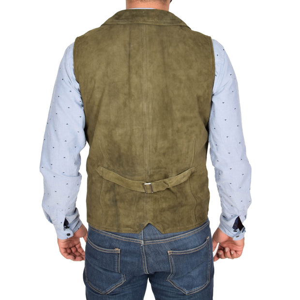 Mens Real Suede Leather Waistcoat Classic Vest Yelek Status Green Back