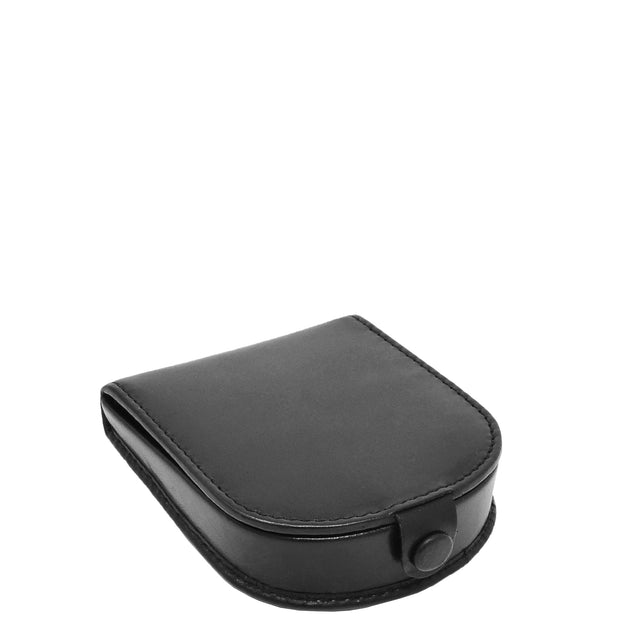Real Leather Classic Coin Tray Wallet Small Pouch Loose Change Purse AVT5 Black