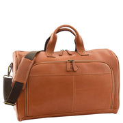 Genuine Leather Holdall Weekend Gym Business Travel Duffle Bag Ohio Tan Front 1