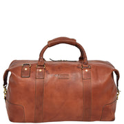Genuine Leather Holdall Vintage Tan Travel Weekend Duffle Bag Rome Front