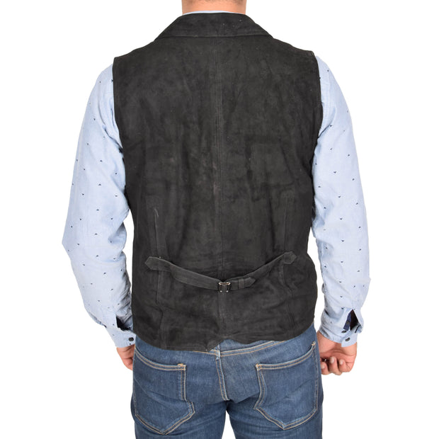 Mens Real Suede Leather Waistcoat Classic Vest Yelek Status Black Back