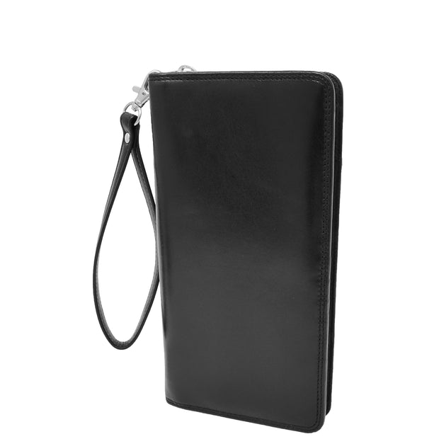 Real Italian Leather Travel Passport Wallet Boarding Pass Clutch Purse AVM10 Black