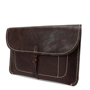 Real Leather Wrist Clutch Bag A5 Size Underarm Folio Case Nixes Brown Front